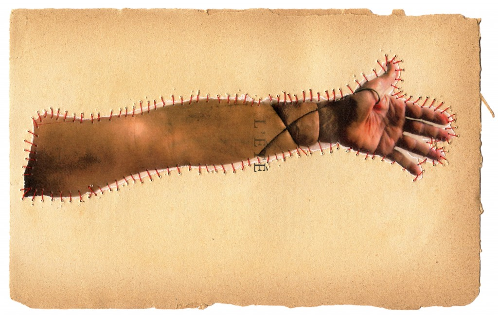 "Gilvan Barreto,      ""Arm,     "" Sutures series, 2015, from the book ""Sobremarinhos"", 100 cm x 66 cm, mineral pigment print on cotton paper"
