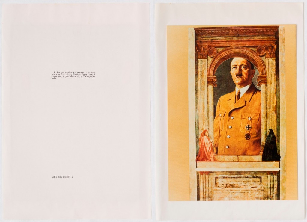 "León Ferrari, ""Language of image: reinterpretation of the Bible"", 1987, Album with photocopies on paper, print on photographic paper, MASP Collection. On the left of the diptych, the artist quotes the Apocalypse I:"