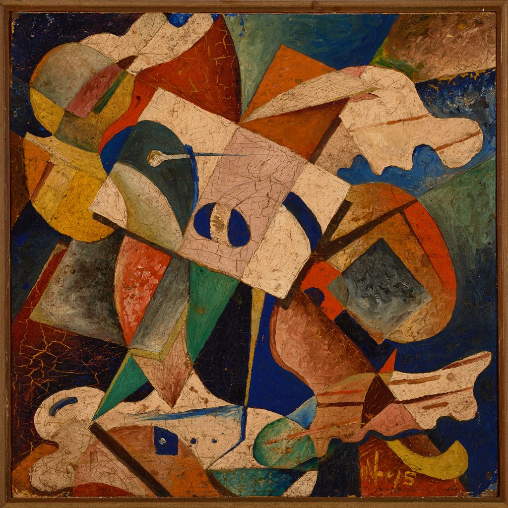 "Oswaldo Vigas, ""Composición-IV,""-1943, oil on cardboard, 32 x 32 cm"