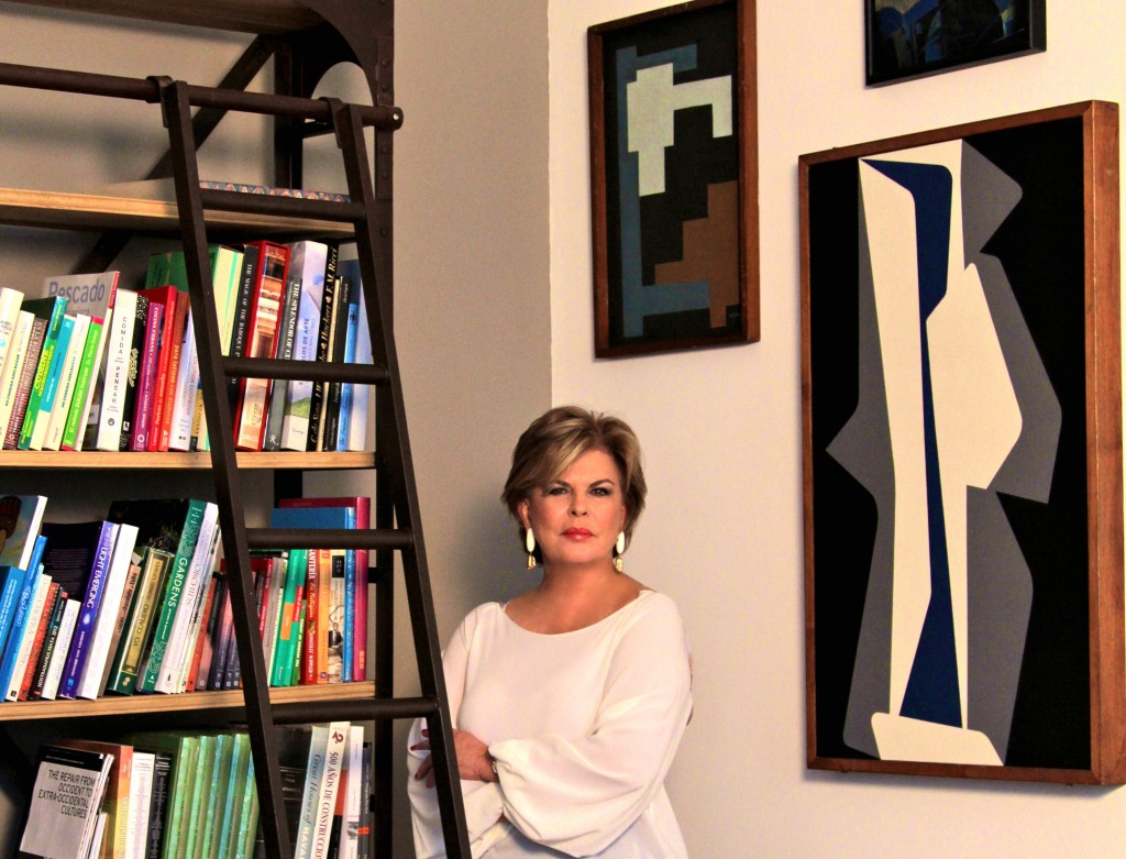 Ella Fontanals-Cisneros with works of José Mijares (left) and Pedro de Oraá (right)/Courtesy of CIFO | Cisneros Fontanals Art Foundation
