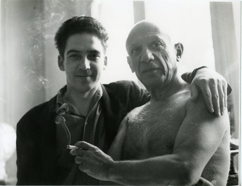 Young Vigas with Picasso at the Spanish master's studio, Villa La Californie, near Cannes, South of France, 1955