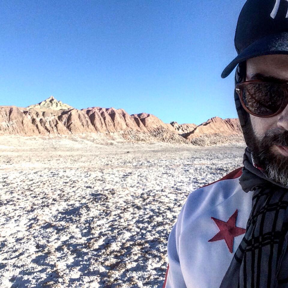 "Alexandre Mazza in Chile's Atacama desert during the filming of his video ""In the Desert, We are the Oasis,"" 2016"
