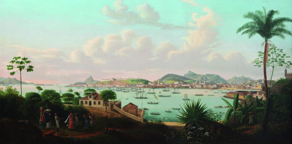"Félix Émile Taunay,""Baía de Guanabara vista da Ilha das Cobras,"" 1828 (Guanabara Bay Seen from Snake Island),Instituto Ricardo Brennand, Recife, Brasil"
