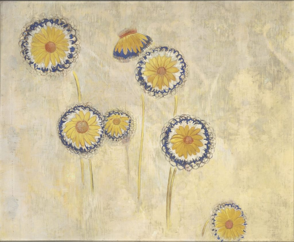 "Odilon Redon (1840-1916, ""Marguerites"" [Margaridas], 1901 Óleo, têmpera, carvão e pastel sobre tela, 123 x 149,5 cm Paris, Musée d'Orsay © RMN-Grand Palais (musée d'Orsay) / Hervé Lewandowsk"