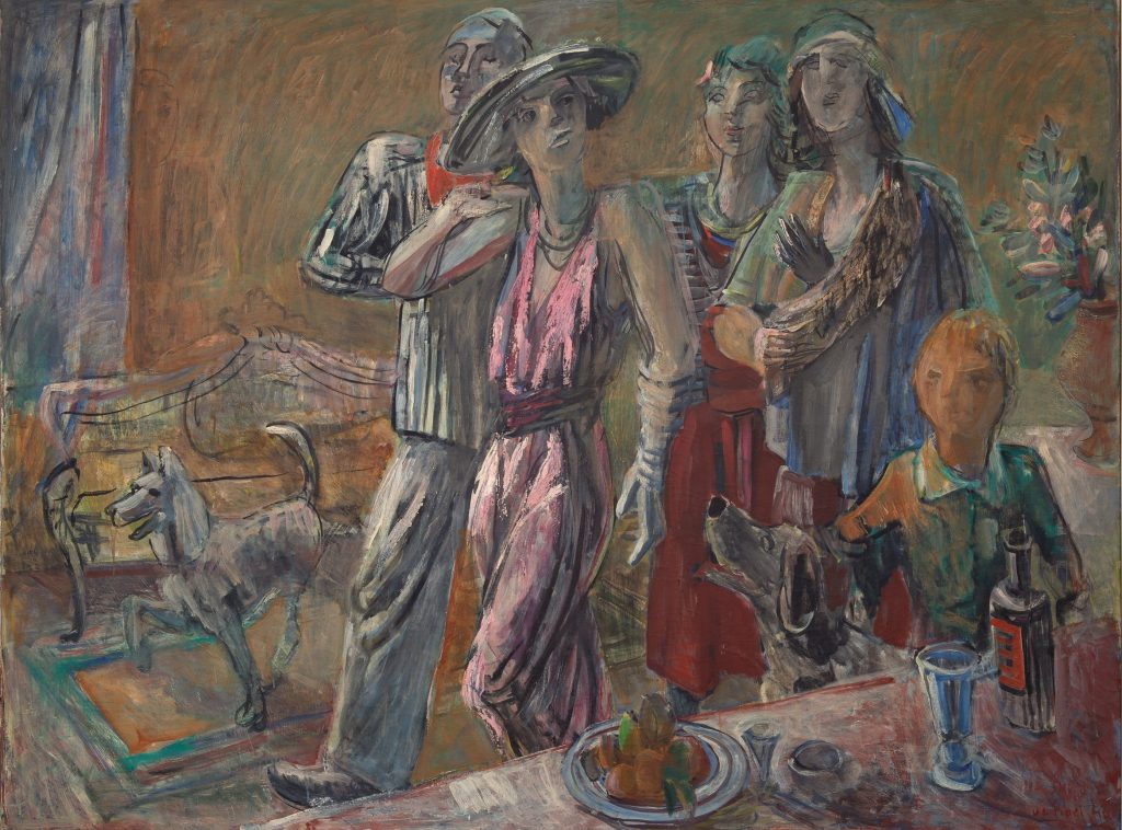 "De Fiore, ""Visitors,"" Gala series, 1943, oil on canvas, 134x178cm"