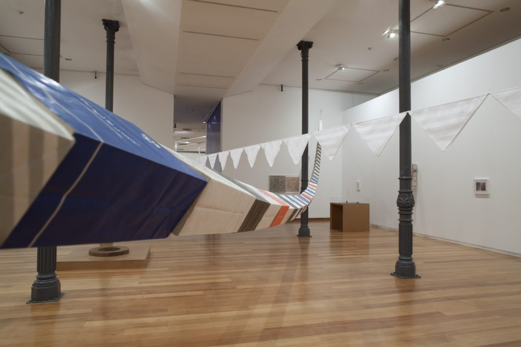 Jac Leirner, Corpus Delicti (Sickness bags), 1993, view of the exhibit at Estação Pinacoteca, São Paulo, 2011/Photo: Isabella Matheus