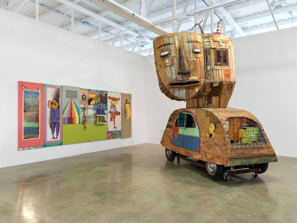 "Os Gêmeos, ""Within the Rainbow, That's How it is"" (2010) and ""Untitled"" (2008). ""Everything You Are I am Not: Latin American Contemporary Art from the Tiroche DeLeon Collection."" MANA Glass Gallery, Jersey City. Courtesy: MANA Contemporary/Photo: John Berens"