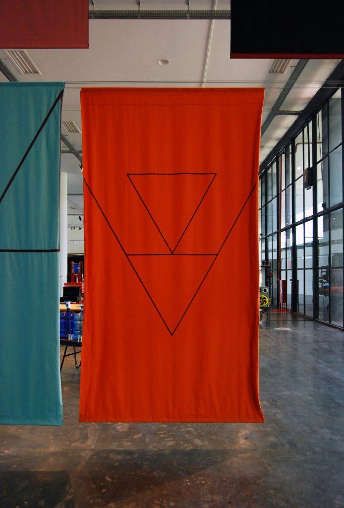 "Felipe Mujica Las universidades desconocidas [The Unknown Universities], 2016 Fabric, thread and embroidered yarn 30 panels, 295 x 160 cm   116"" x 63"" (aprox.)/Photo: Felipe Mujica"