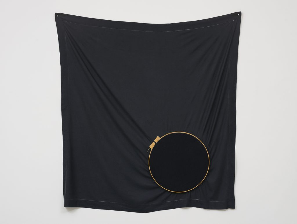 """Occultation."" 2016, linen towel, wooden embroidery frames, embroidery/Photo: Eduardo Ortega"