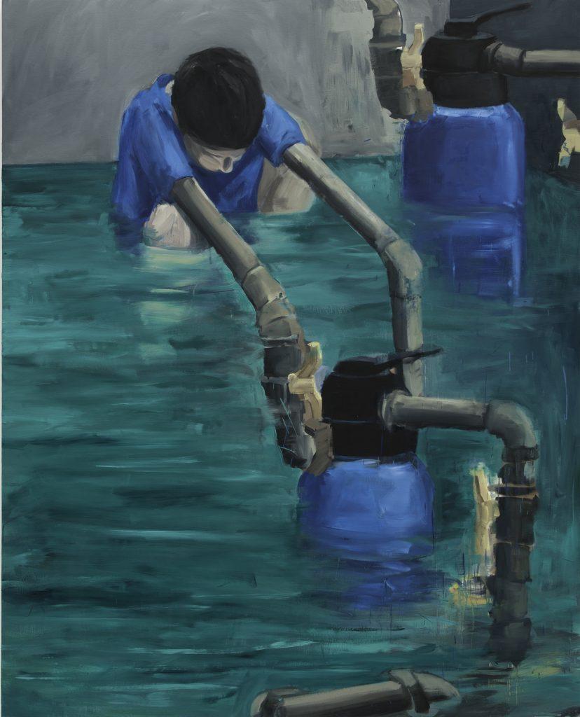 """Eduardo Berliner, """"Tubulação"""" (Piping), oil on canvas, 188 x 151 cm. Courtesy Casa Triangulo"""