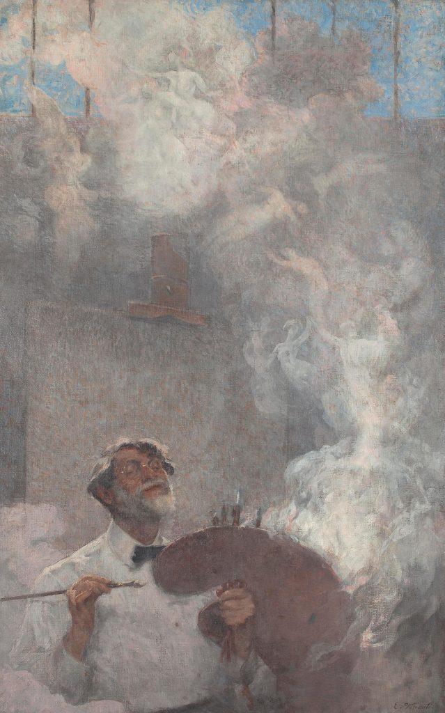Eliseu Visconti, Ilusões Perdidas (Lost Illusions), self-portrait, c. 1933, oil on canvas, 160 x 100 cm. On show at Almeida e Dale