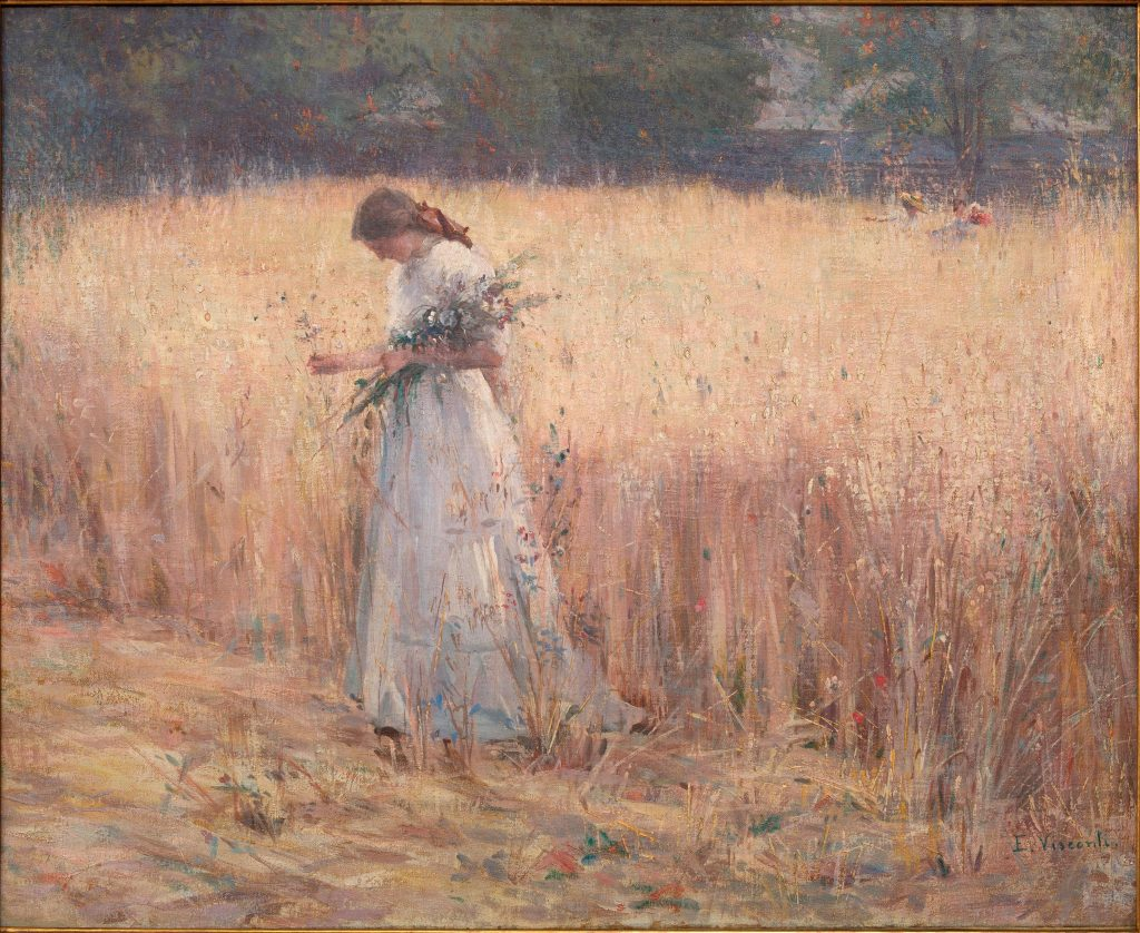 Eliseu Visconti, Moça no Trigal (Young Woman in the Wheat Field). This rarely viewed oil depicts the artist's daughter Yvonne who later became a painter. On show at Almeida e Dale