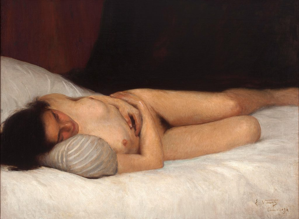 Eliseu Visconti, Nu Feminino, painting showing woman lying naked on a bed.