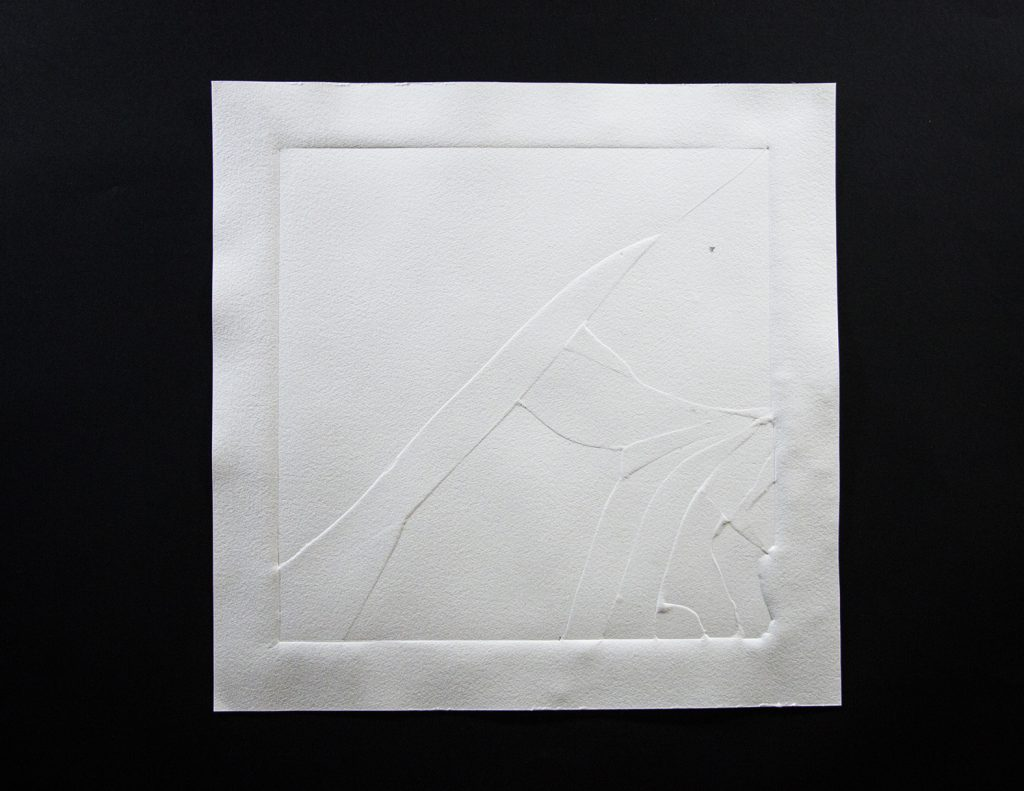 História, 2016, paper pressed on broken glass