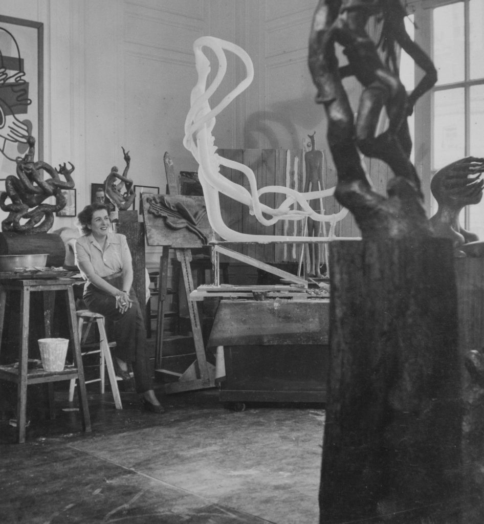 Maria Martins in her New York studio at Madison Avenue and 57th Street surrounded by sculptures in progress