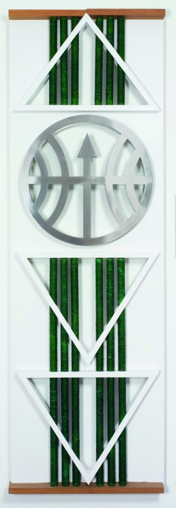 Emanoel Araújo, Oxóssi, 2007, polychrome wood, beads and stainless steel