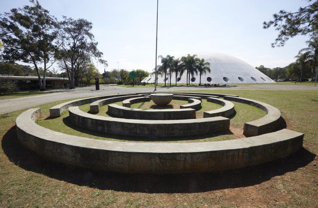 Denise Milan's sculpture of circular stones.