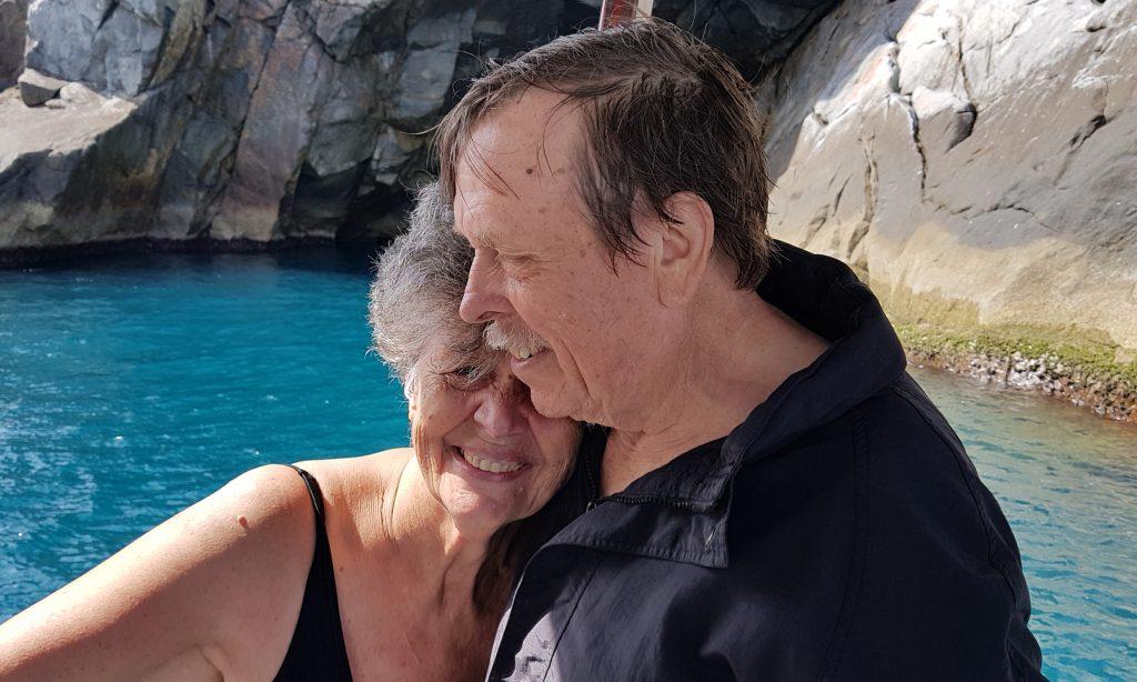 Artists Regina Vater & Bill Lundberg together near a cove