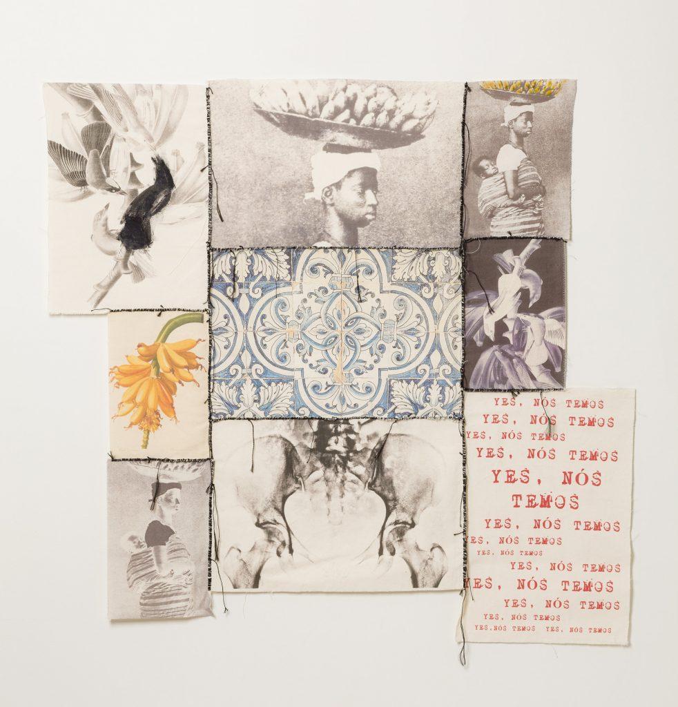 Rosana Paulino, Musa paradisíaca (Paradise Muse), 2018, digital print over fabric, cutout, paint and sewing