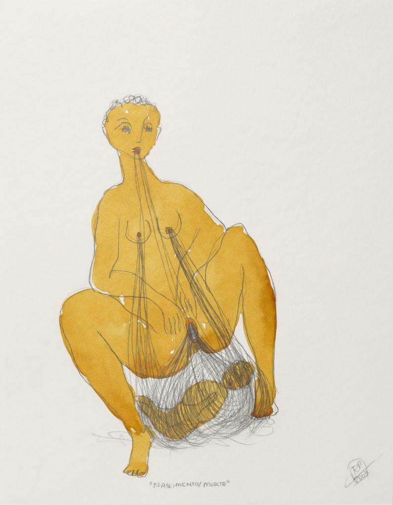 Rosana Paulino, Tecelã (Female Weaver), 2003, graphite and watercolor on paper