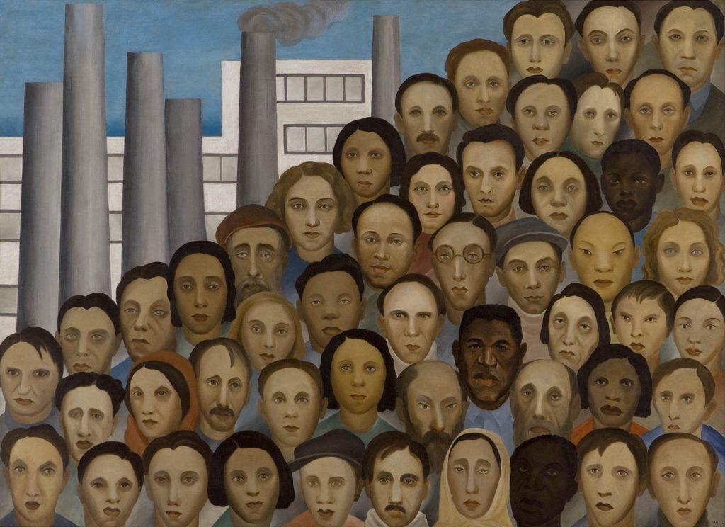 Tarsila do Amaral, Operários (Workers), 1933, oil on canvas, 150 x 205 cm