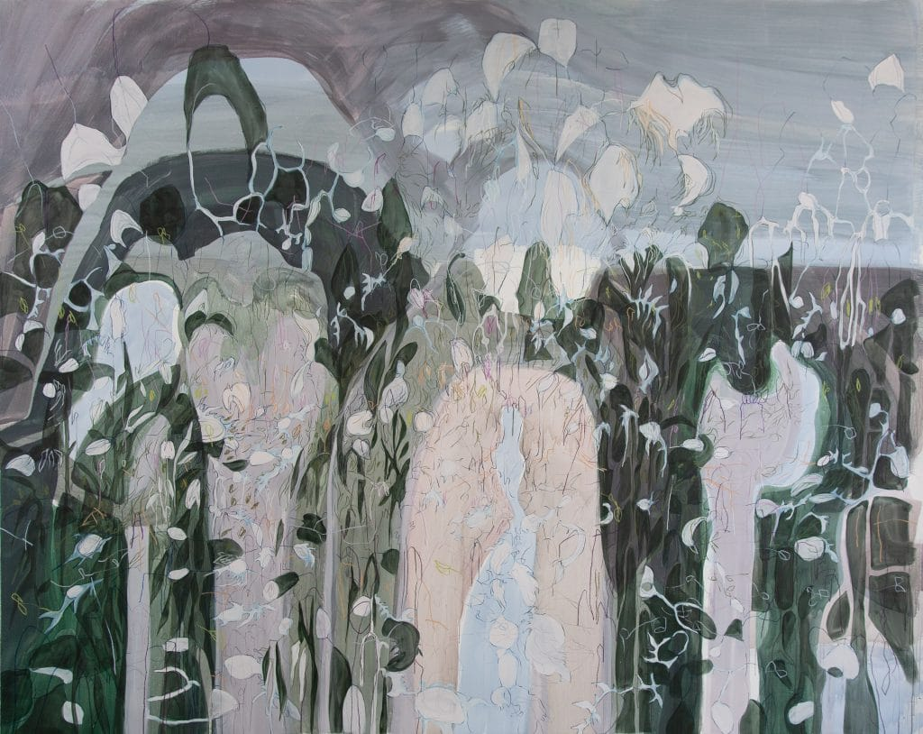 Janaina Tschäpe painting of landscape with petals in black, gray and white, on larger forms.
