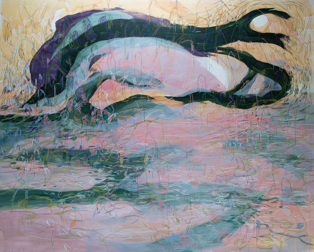 Janaina Tschäpe paning of landscape with swirling black, green and pink forms.