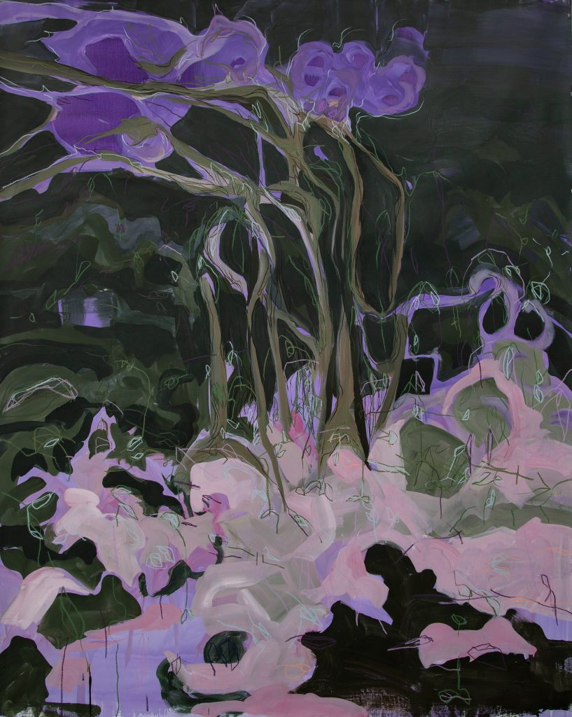 Janaina Tschäpe painting of purple flowers in pink ground with black background.
