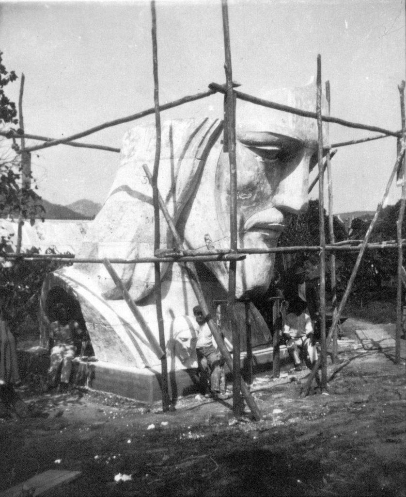 Head of Christ the Redeemer on the building site, Rio de Janeiro, circa 1929.