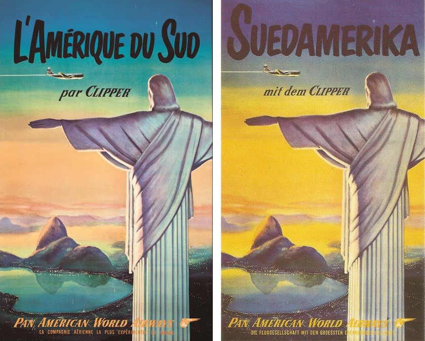 Panam Airways French and German posters with Christ the Redeemer in Rio as symbol of the gate to South America