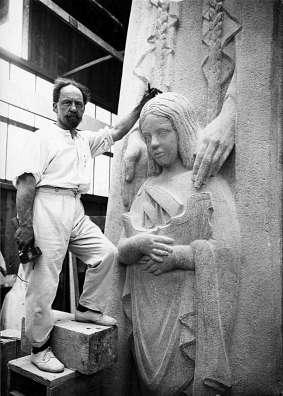 Sculptor Paul Landowski working on the monument to Saint Genevieve
