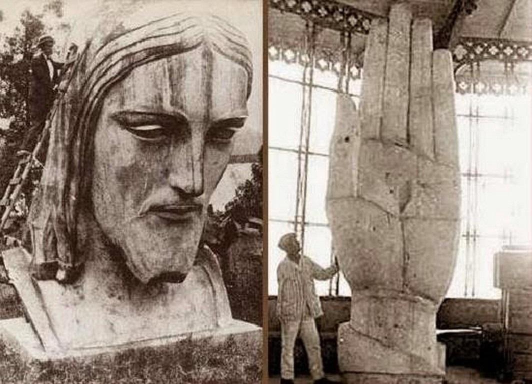 The head and one hand of the Christ in Paul Landowski's studio