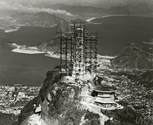 Christ the Redeemer monument under construction, with scaffolding surrounding statue.