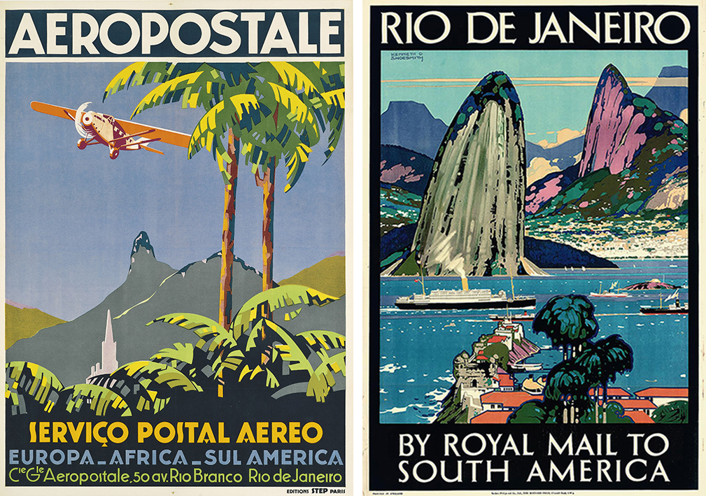 Travel posters before the Christ monument's installation on the Corcovado peak.